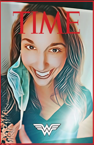 Kellie Stecher on time magazine cover as Wonder Woman