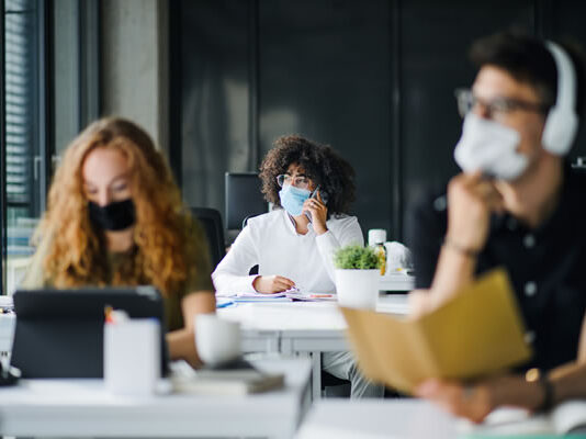 college students in classroom with masks on