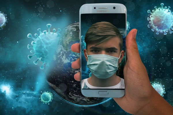 man holding cellphone with his reflection wearing mask in the phone