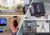 collage of 4 pictures of individuals working out at home with a computer