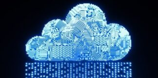digital cloud made up of a chip board with ones and zeros flowing to it