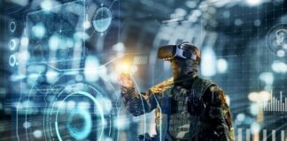 military soldier with VR headset on using a virtual floating map