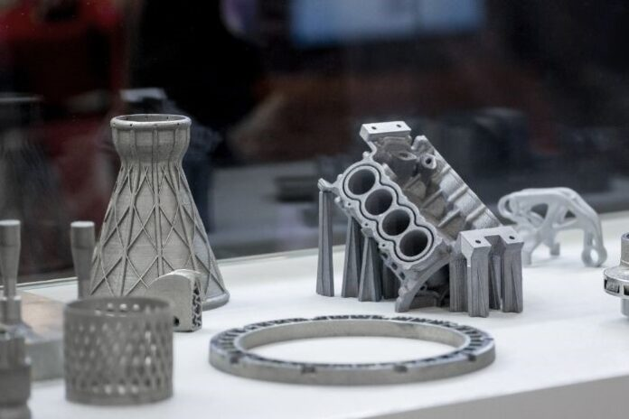 various 3D printed parts for an automobile engine