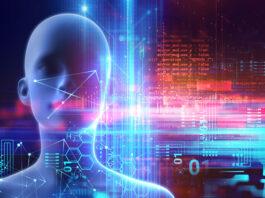 human-like robot facing forward with digital and virtual dashboards surrounding it