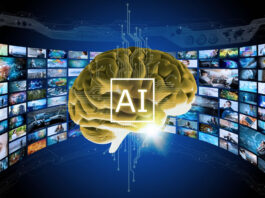 virtual ai brain with hundreds of video images surrounding it