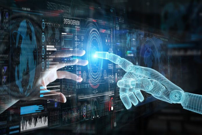 human hand and ai hand touching index fingers through a digital dashboard