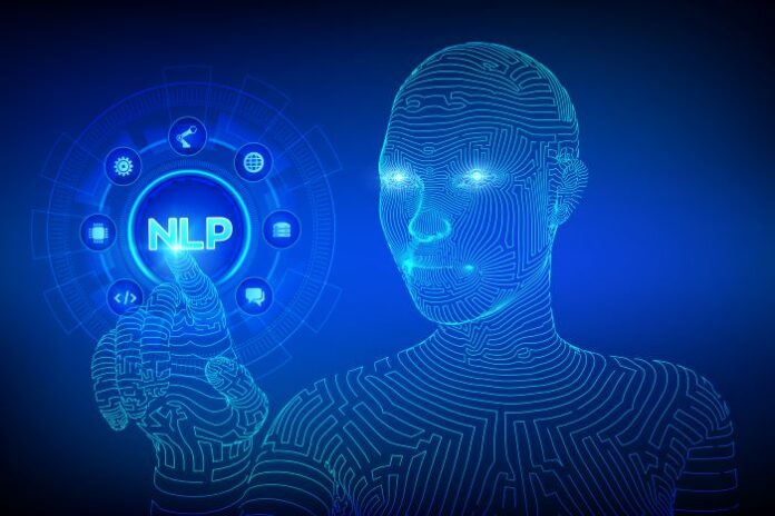digital robot reaching to press the NLP button on a digital dashboard
