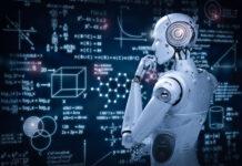 robot looking at virtual chalkboard of advanced math