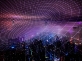 virtual abstract of a vortex or black hole covering a city skyline at night