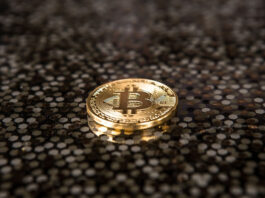 single gold bitcoin laying on a silicon circuit board