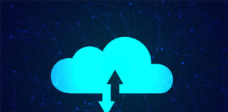 azure colored cloud with a download and upload arrow attached to the cloud