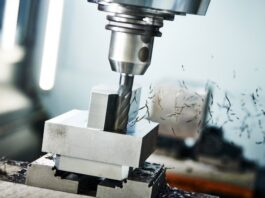 drill press in action using CNC process