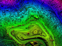 colorful geospatial overhead drone view of topography