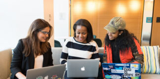 three girls in tech, diversity and inclusion with their laptops