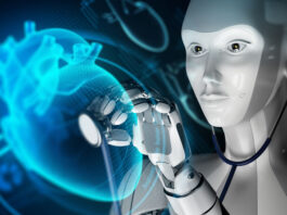 AI robot with stethoscope listening to a digital heart