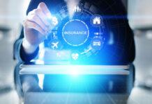 businessman innovating insurance on a digital dashboard