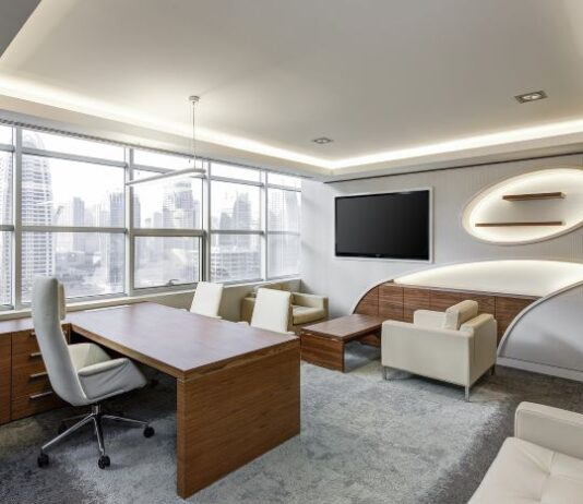 corner windowed-office space in a high-rise