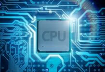 closeup of a server CPU with a virtual circuit board background in blue