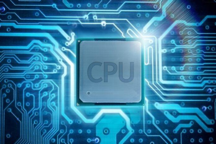 closeup of a server CPU with a virtual circuit board background in blue