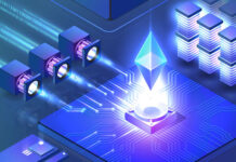 digital representation of data flowing into a CPU with the Ethereum crystal floating above it