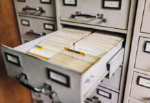 open drawer to a filing cabinet for public records