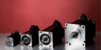 four stepper motors of varying sizes lined up in a row