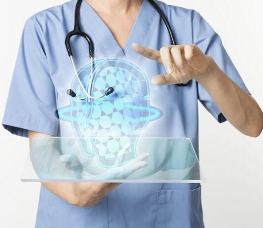 doctor using transparent tablet with hologram digital health technology