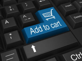 black pc keyboard with an Add to Cart button in blue
