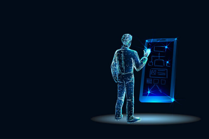 virtual person touching a virtual mobile device using low-code