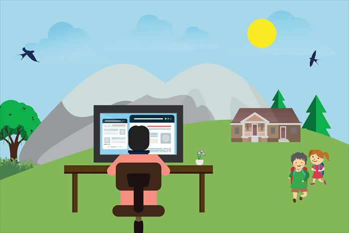 cartoon-like picture of person working at desk in the middle of the outdoors