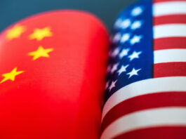 United States and china flags next to each other