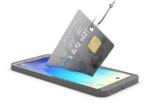 Smishing attack showing a fishing hook pulling out a credit card from a cell phone