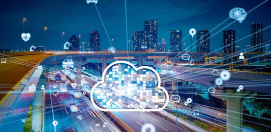 automobile highway with overlay of virtual cloud and SaaS data highway