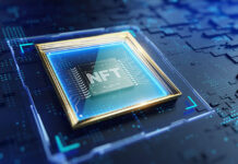 micro processor board with CPU with the word NFT on it