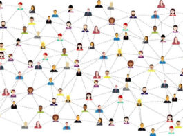drawing of cartoon people all networking together