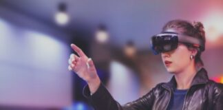 woman wearing virtual and augmented goggles to improve lives