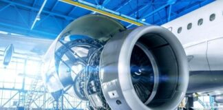 commercial jet in hanger displaying engine in aerospace industry