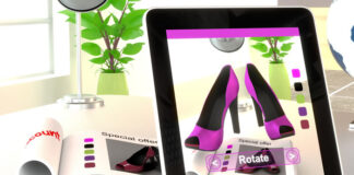 AR marketing using a tablet for online shopping to buy products