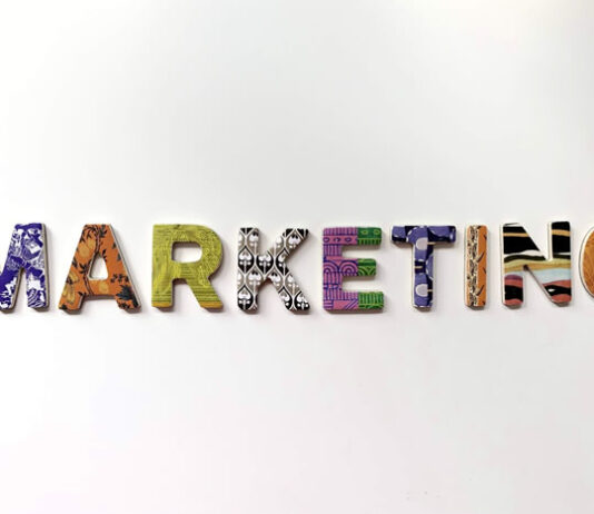 colorfully designed digital marketing letters on a white background