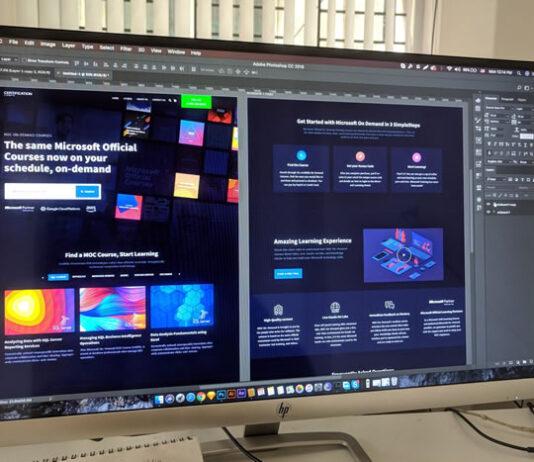 PC monitor displaying a web design layout