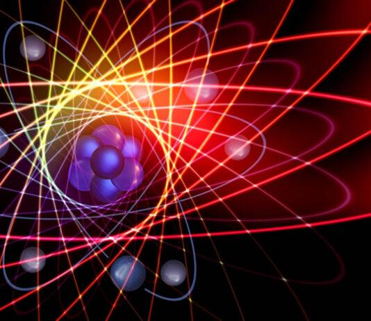 illustration of spinning atoms representing quantum physics