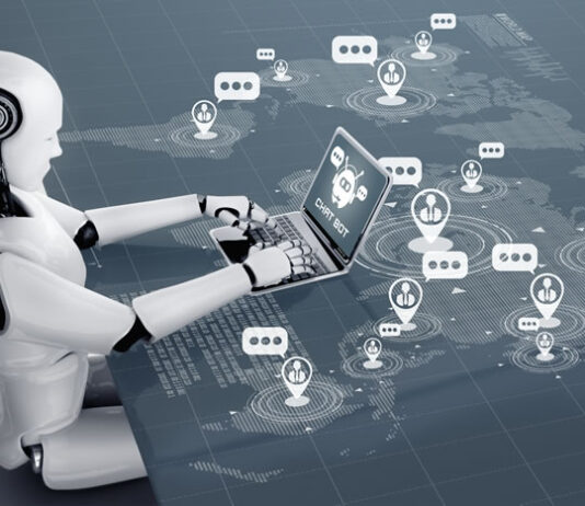 AI robot sitting at virtual desktop working with worldwide ecommerce