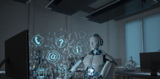 digital workplace with AI robots at computers
